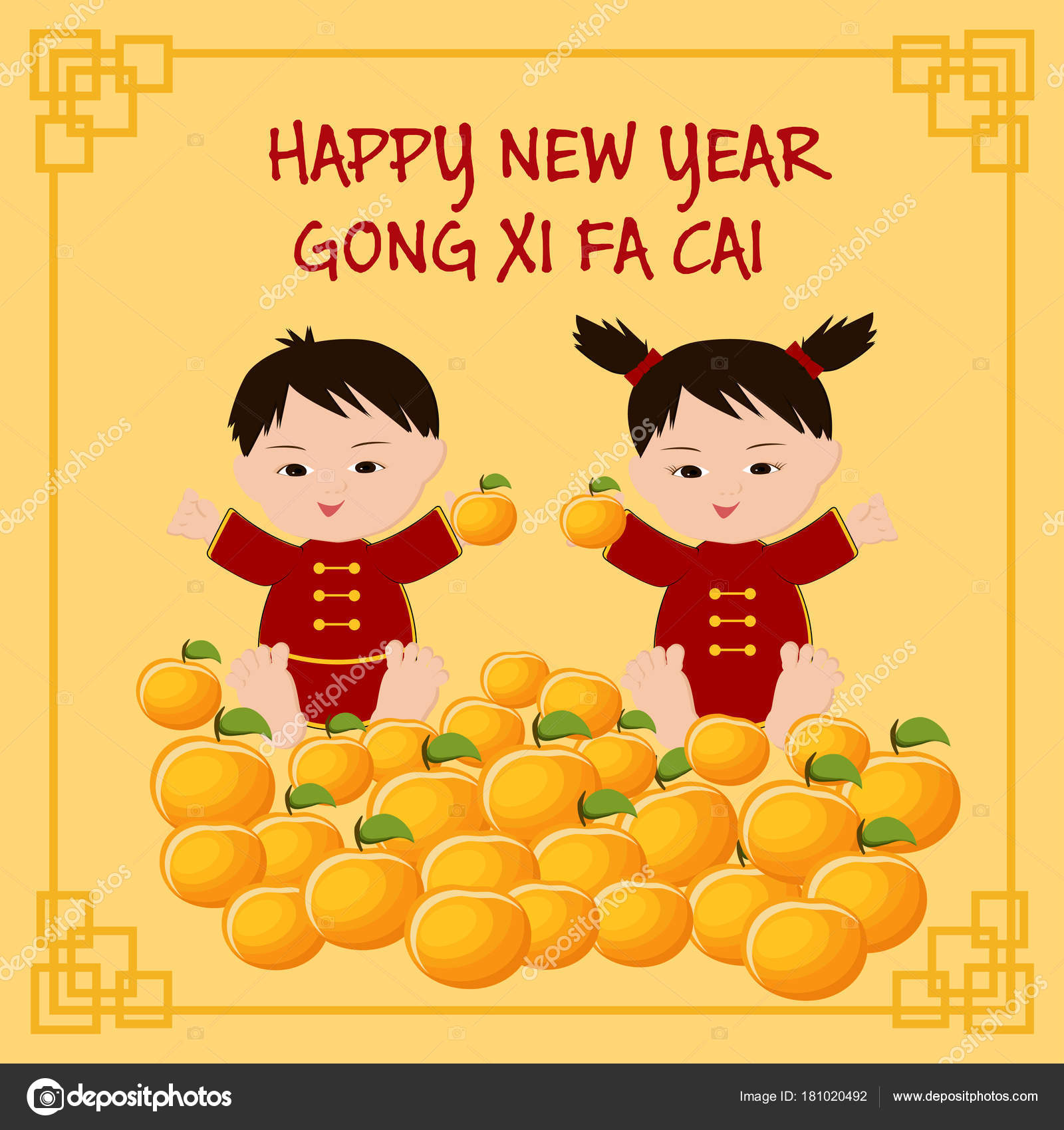 Chinese new year greeting card with chinese kids text happy new year chinese new year greeting card with chinese kids in traditional clothing mandarins and text happy new year cong xi fa cai cartoon vector illustration in m4hsunfo
