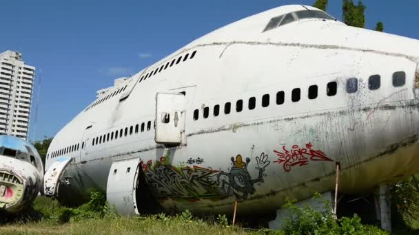 Time lapse of front of white air plane wreckage