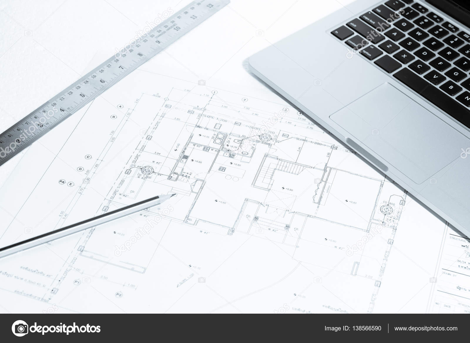 Pen metal ruler and notebook over house construction blueprint pen metal ruler and notebook over house construction blueprint stock photo malvernweather Image collections