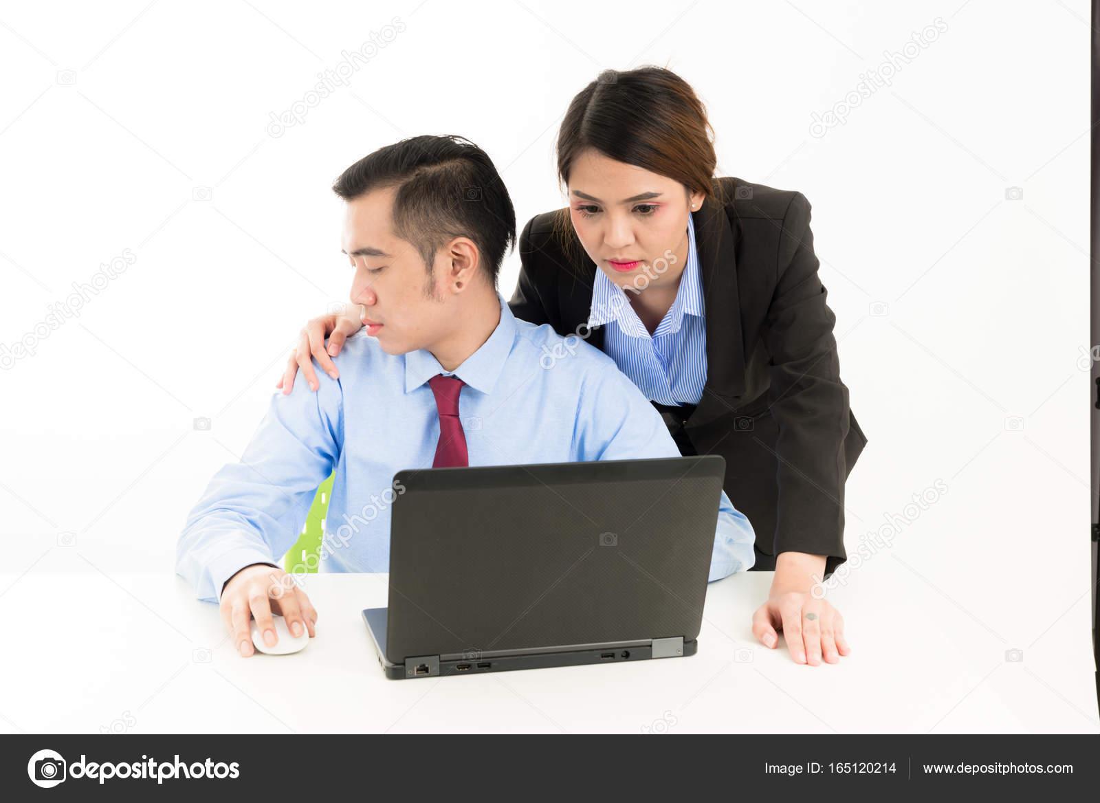 Bureau asie confiant jeune employé entreprise femme touch attra
