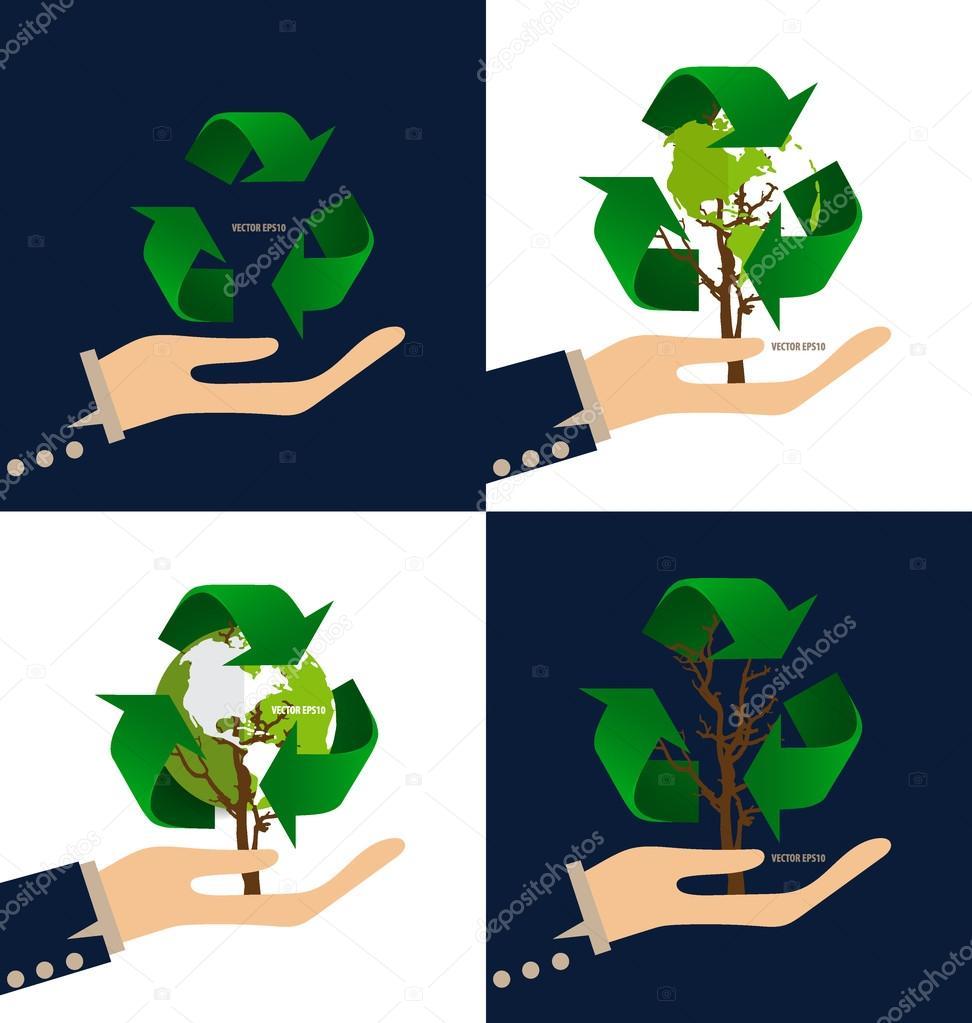 Pensare Verde Concetto Di Ecologia Struttura Ad Albero Con Simbolo