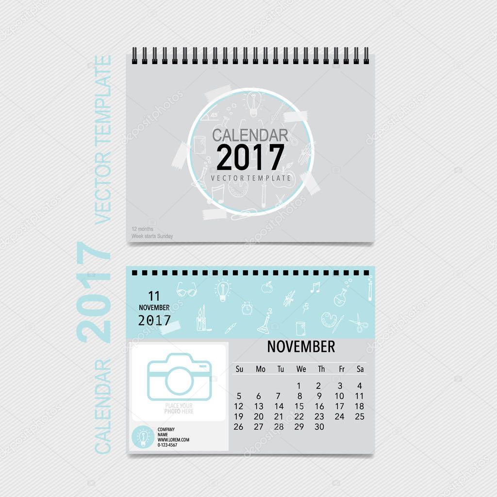 2017 Kalender Planer Vektor-Design, monatlichen Kalender Vorlage f ...
