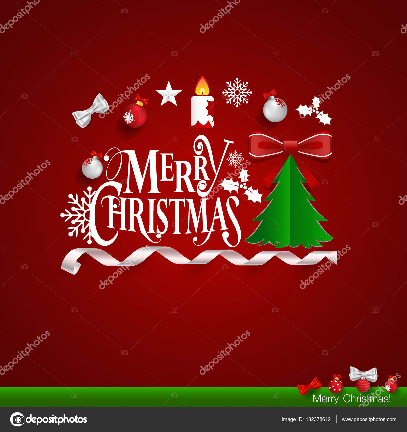 Christmas Greeting Card. Merry Christmas lettering with Christma ...