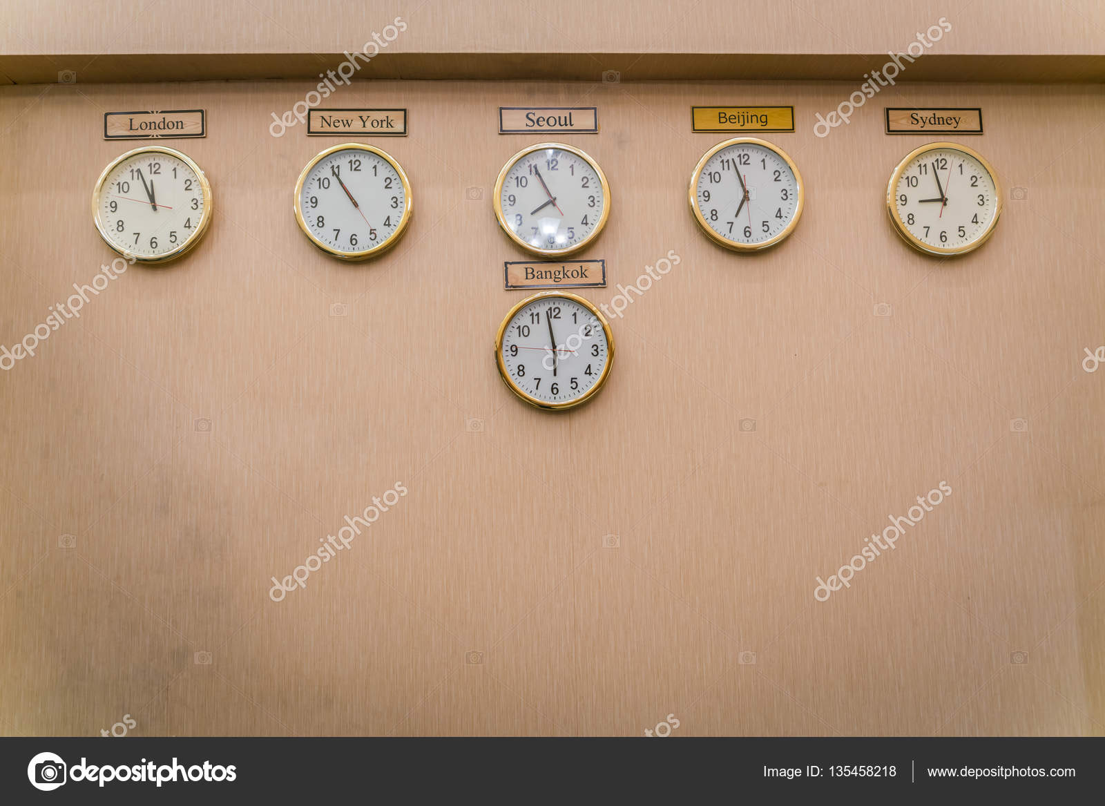 Clocks shows different time zones on old wall stock photo clocks shows different time zones on old wall sciox Image collections