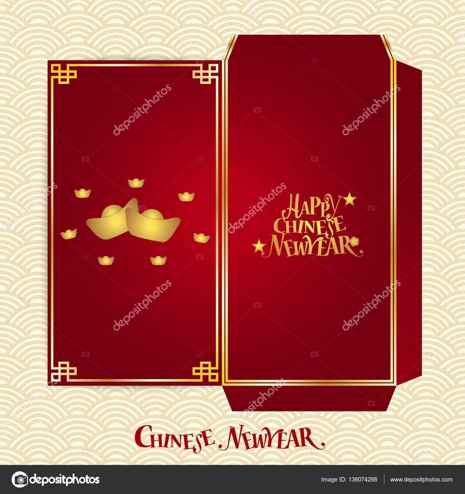 Chinesische neues Jahr-Geld-rot Paket (Ang Pau) Design mit Würfel ...
