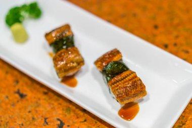 Japanese food : Eel fish sushi roll .