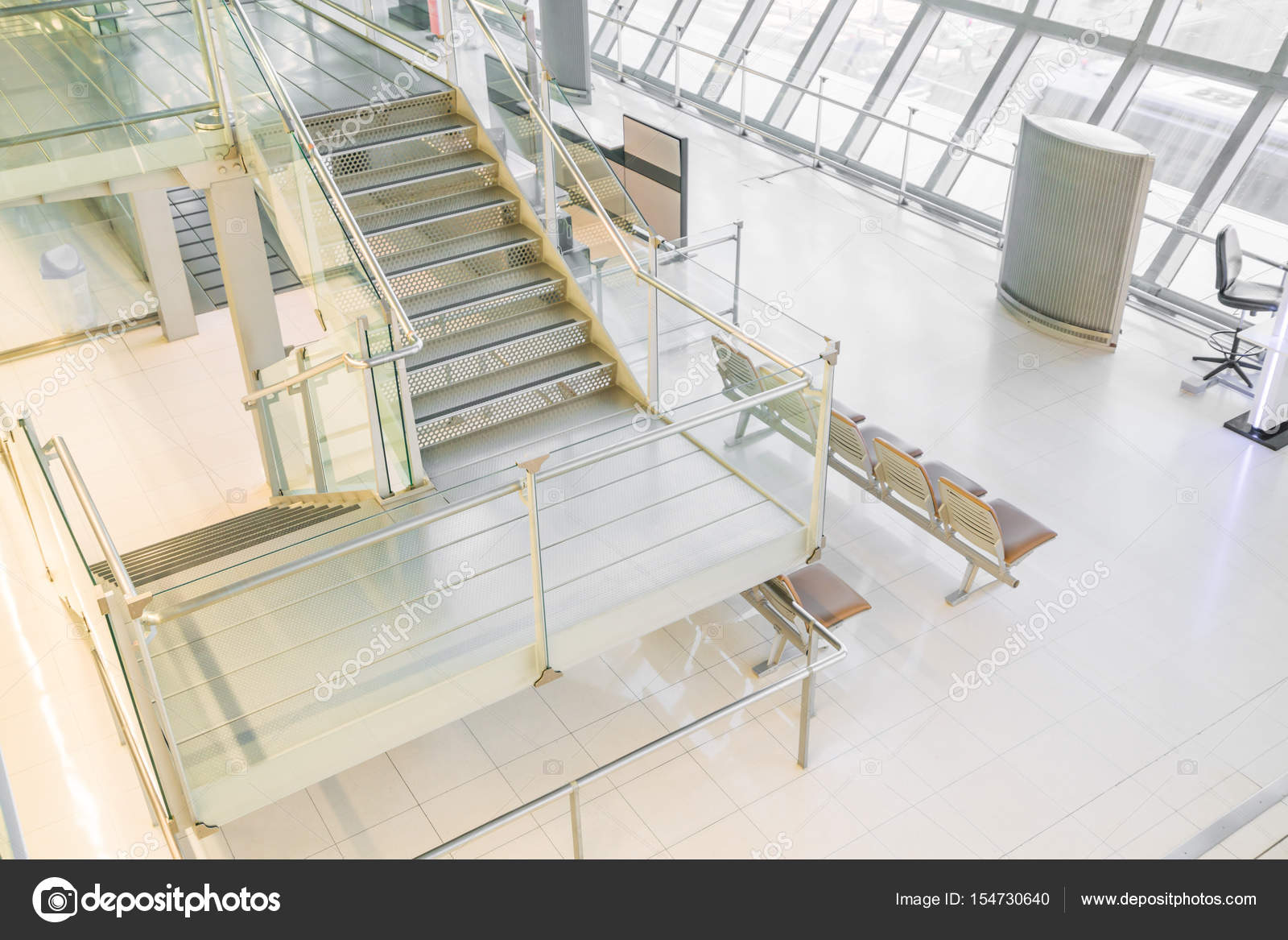 Modern interior of airport waiting hall u stock photo