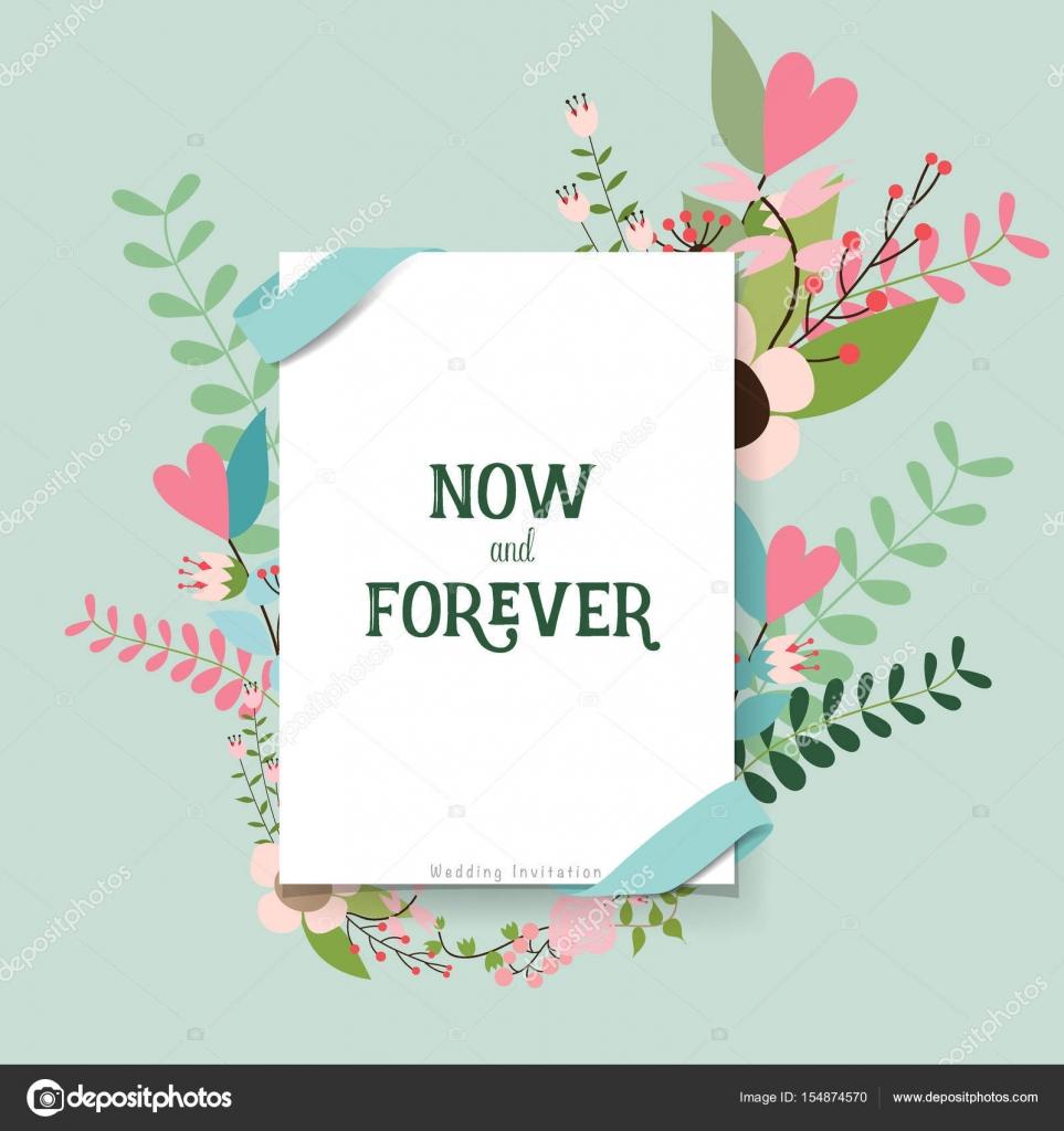 Wedding Invitation Design Images. Wedding invitation card design with cute flower templates  Vecto Stock Vector