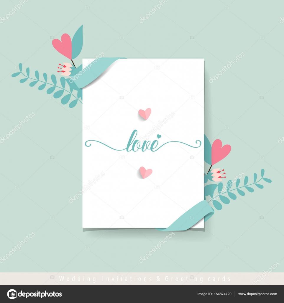 Hochzeit Einladung Kartendesign mit niedlichen Blume Vorlagen. Vecto ...