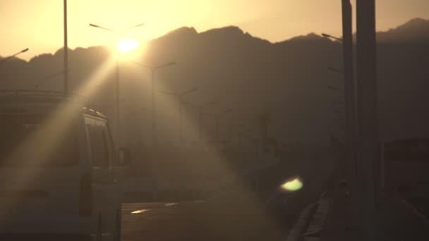 Desert mountains sun set