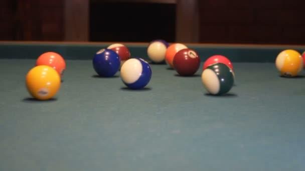 American Pool, Pool Player Breaking Billiard Triangle Pyramid  120fps