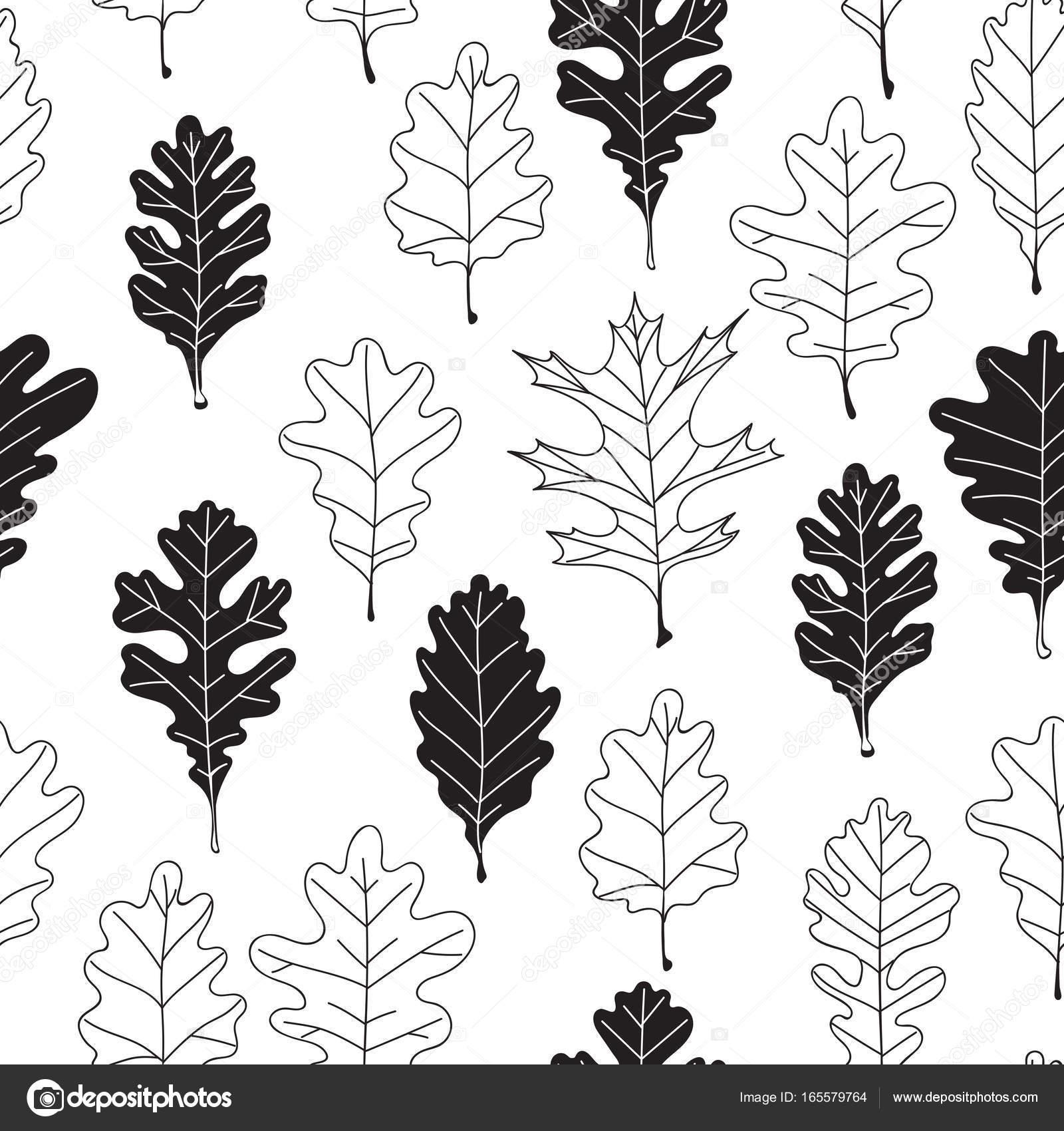 oak leaves pattern stock vector katerinamk 165579764