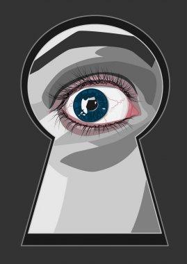 keyhole with eye