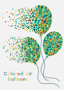 Colored balloons decaying into pixels