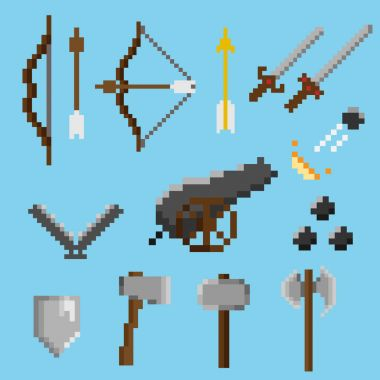 Set of old pixel weapons