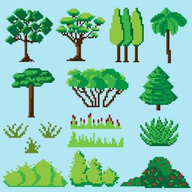 Set of pixelated plants