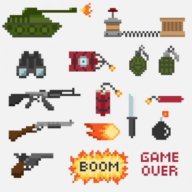 A set of pixel weapons
