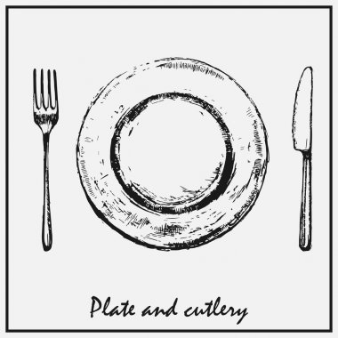 A painted plate with a fork and knife