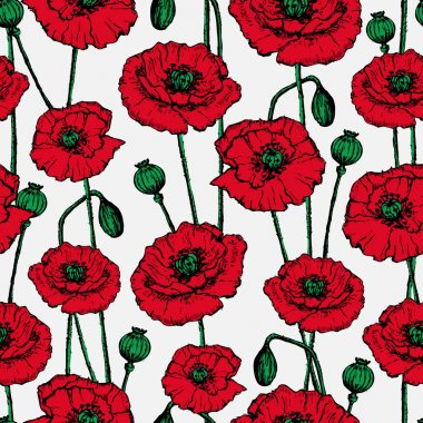 background with painted red poppies.