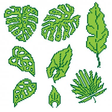 Set of pixelated tropical leaves