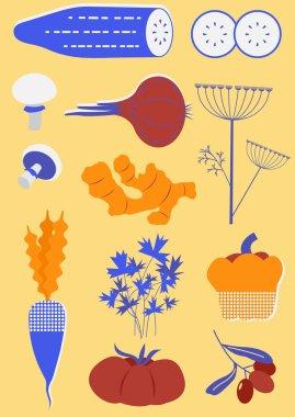 Set of stylized vegetables