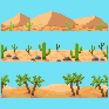 Set of pixel landscape elements