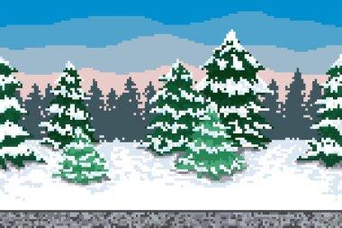 Pixel winter background.