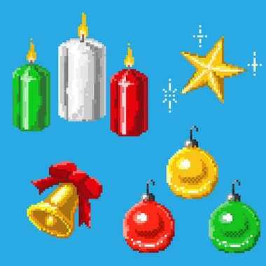 A set of pixel festive elements
