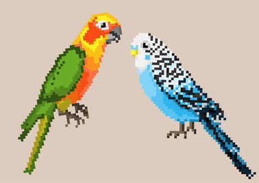 Pixel parrots isolated on a background.