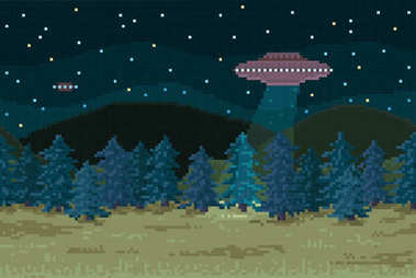 Night forest with a flying saucer