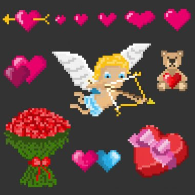A set of pixel elements for Valentines Day