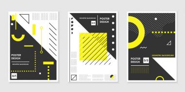 Covers templates set with trendy geometric patterns