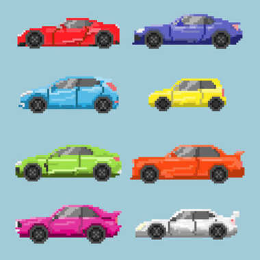 Set of pixel colored cars