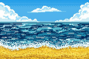 Pixel background with beach, sea, sky and clouds