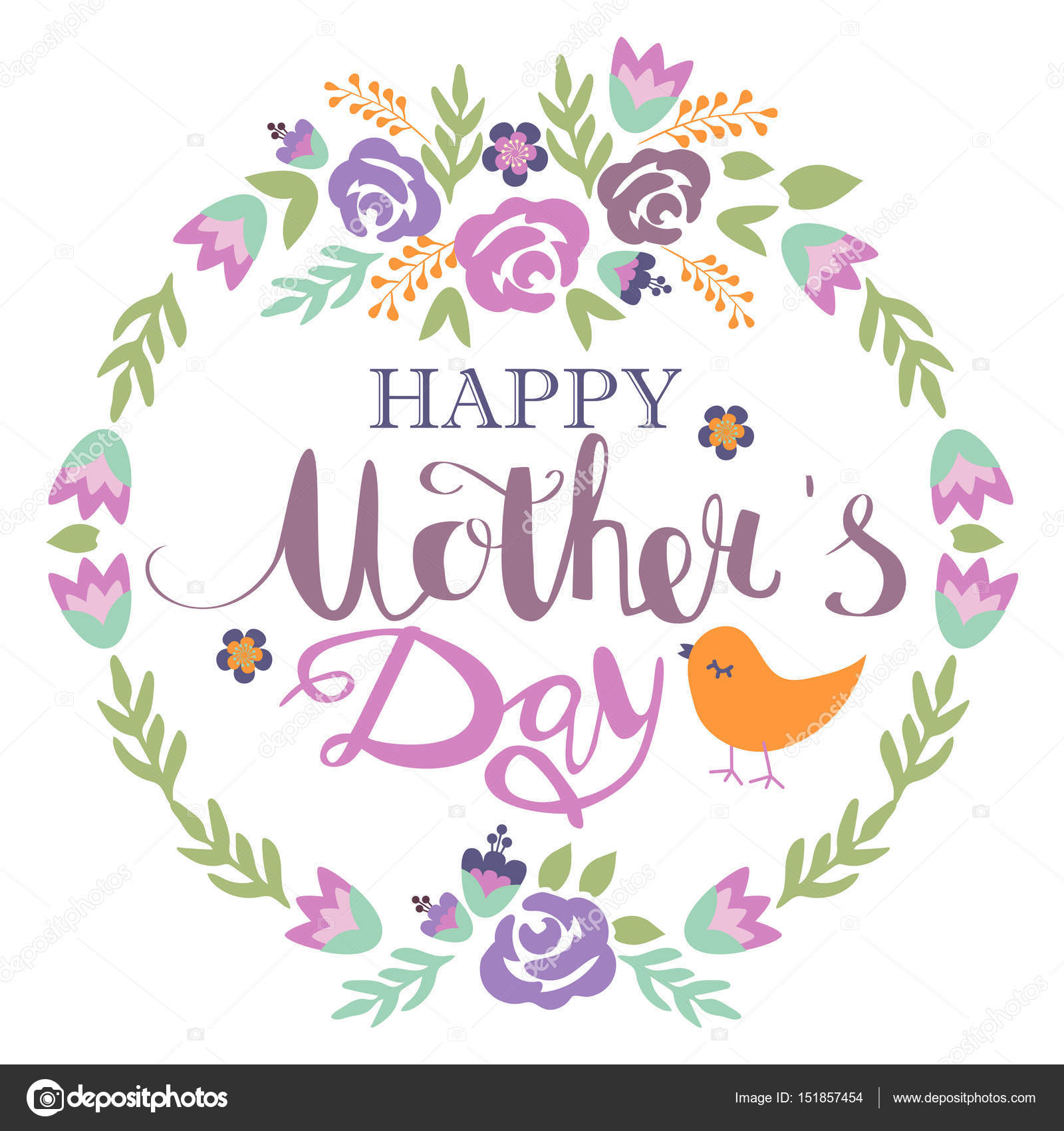 Happy Mothers Day Floral Greeting Card Stock Vector