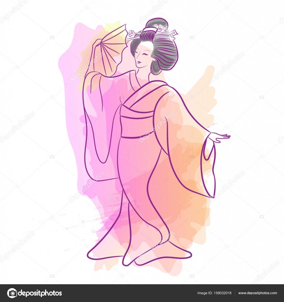 079222062 Dibujos: dibujo japonesa | Geisha Japón japonesa clásica de la mujer ...