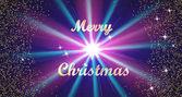 Veselé Vánoce zlaté nápisy typografie a jasné hvězdy na tmavě modrém pozadí. Vektorové ilustrace