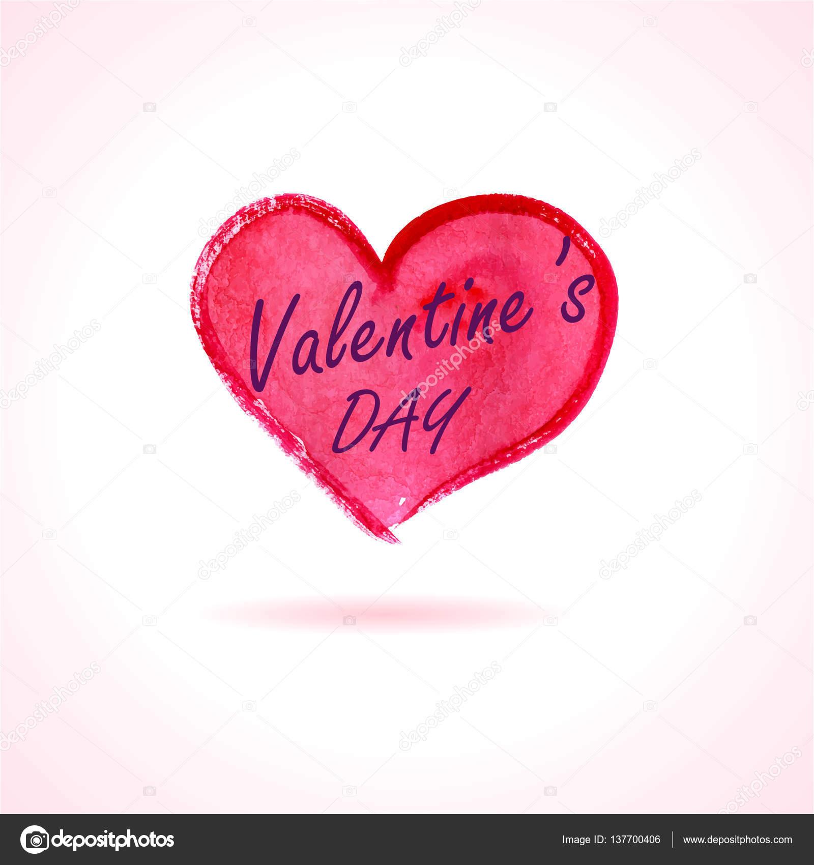Aquarell gemalt, rotes Herz, Valentinstag kostenlose Typografie ...