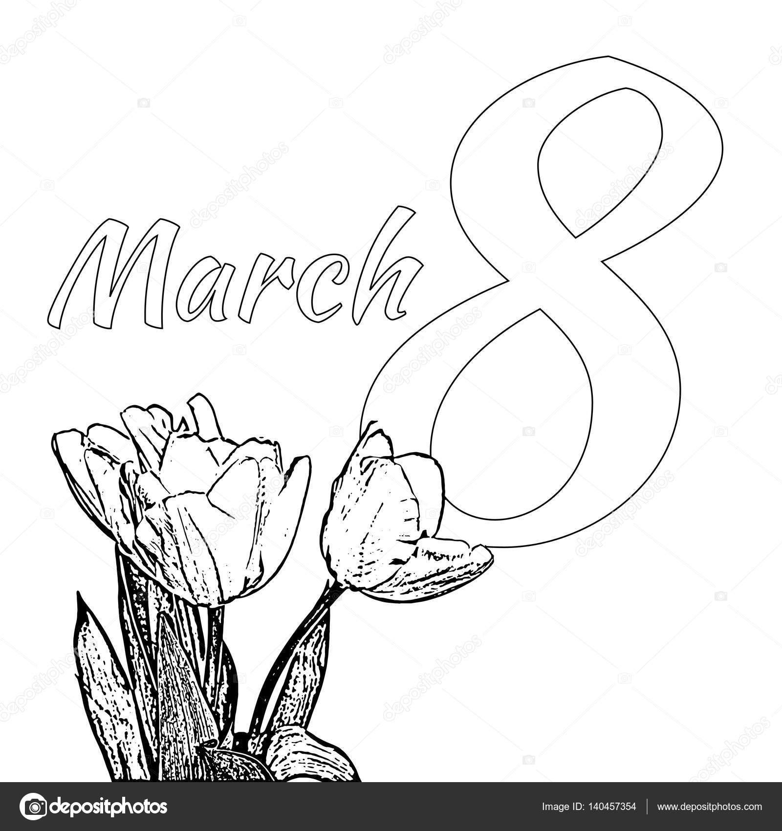 Tulipanes animadas para colorear | Página de c feliz día ...