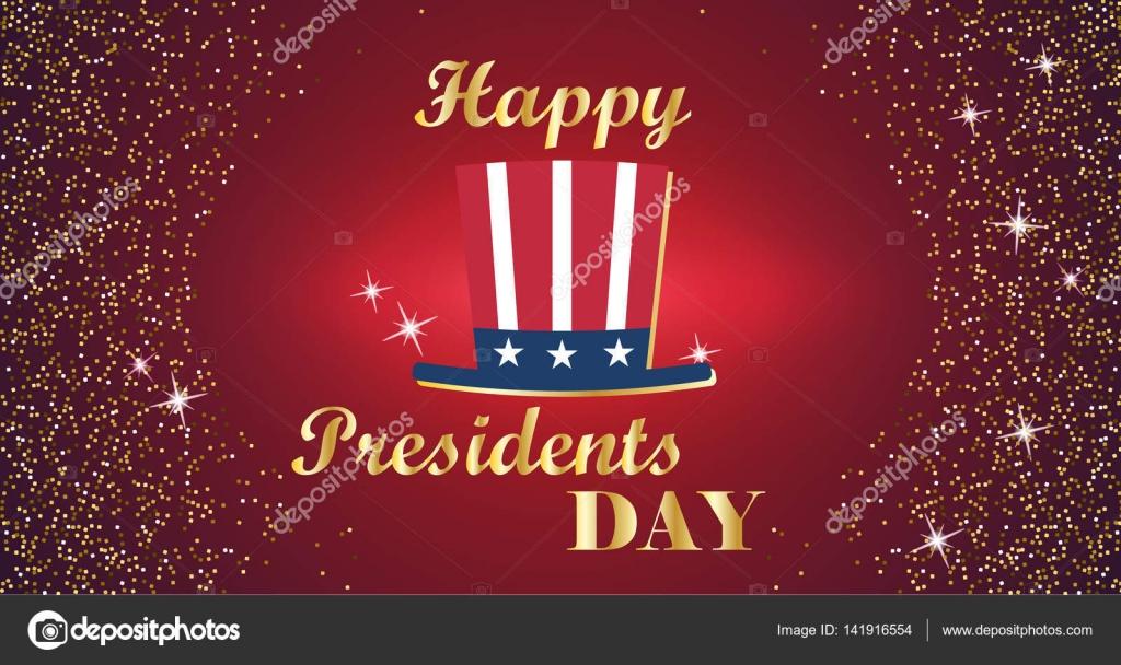 Glücklich Präsidenten Tag Typografie mit hohen Hut und rot mit ...