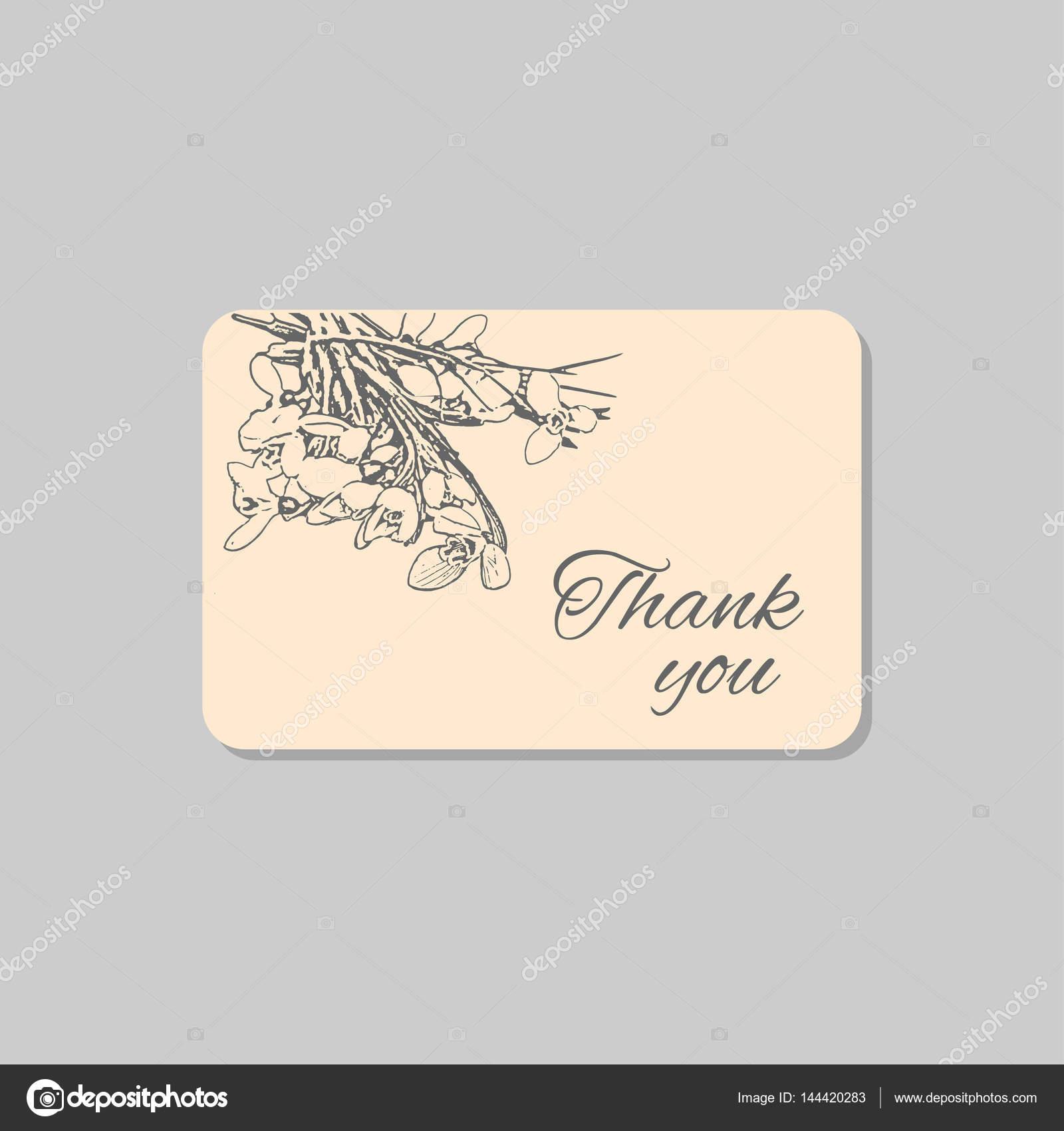 Gracias tarjeta con flores delicadas campanillas verdes. Plantilla ...