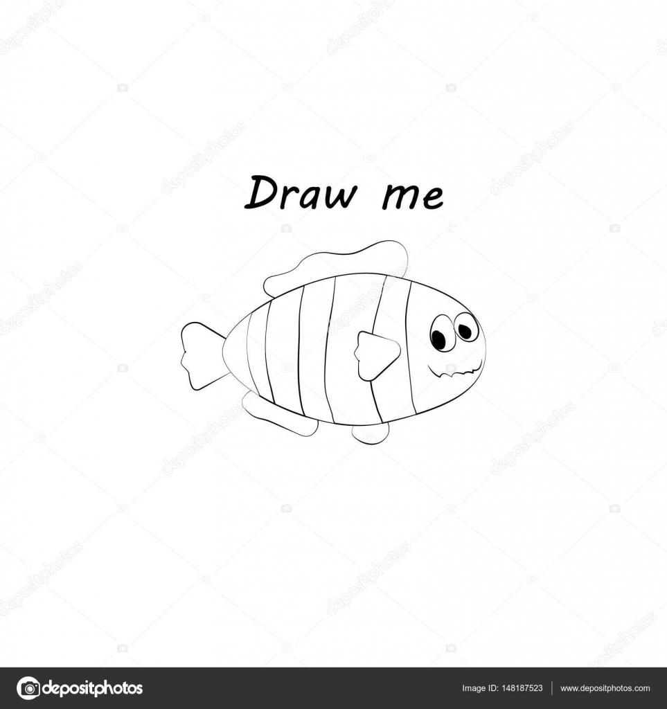 Beni çizmek Deniz Hayvan Illüstrasyon Vektör çocuklar Için Boyama
