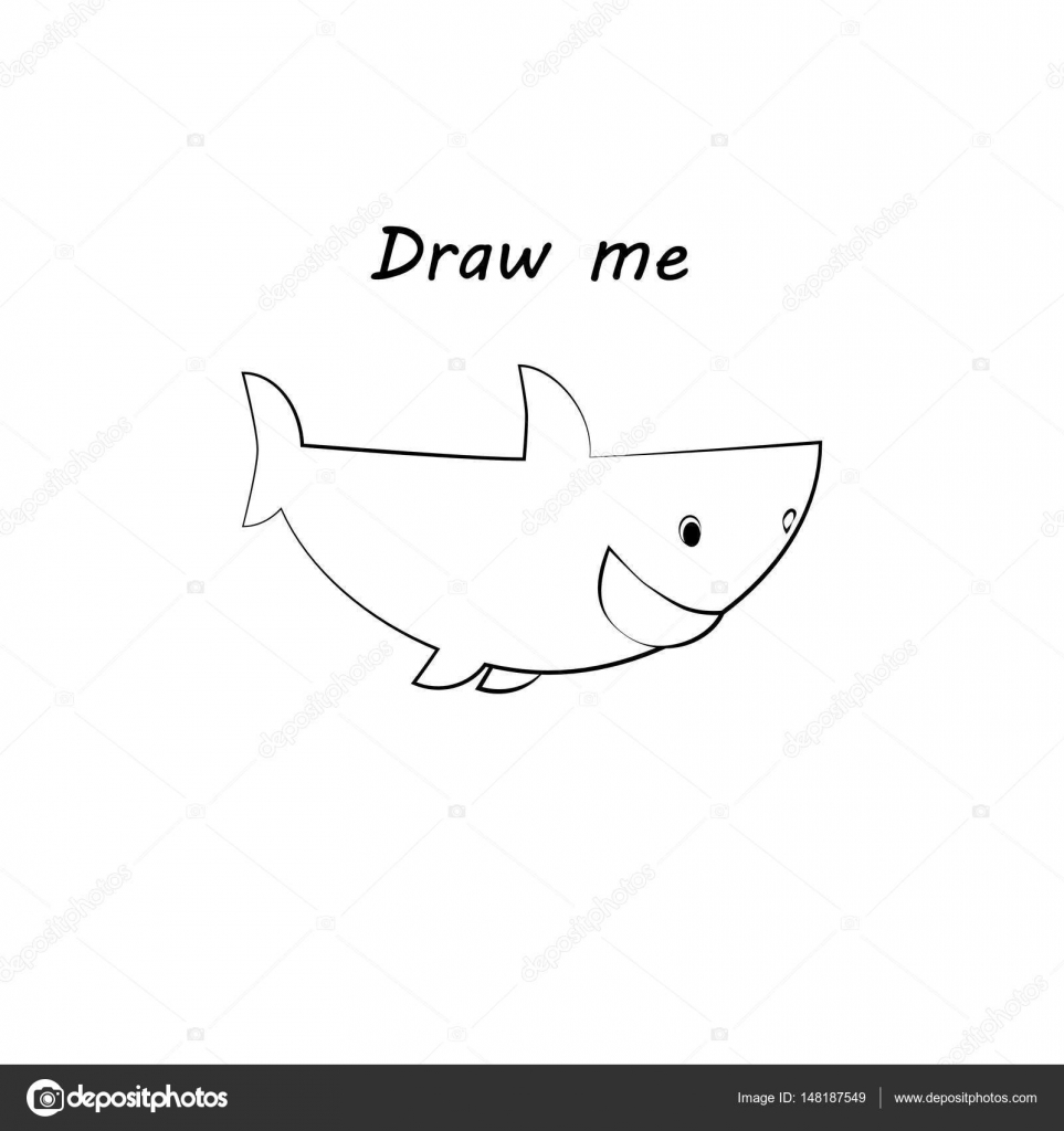 Dibujarme - vector ilustración de animales del mar. El tiburón juego ...