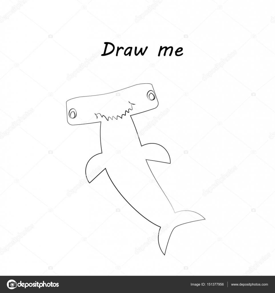 Dibujarme Vector Ilustración De Animales Del Mar El Tiburón