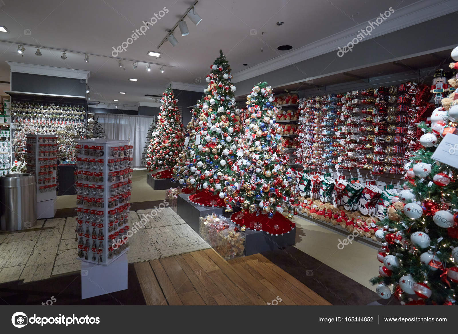 macys department store interior christmas decorations stock photo