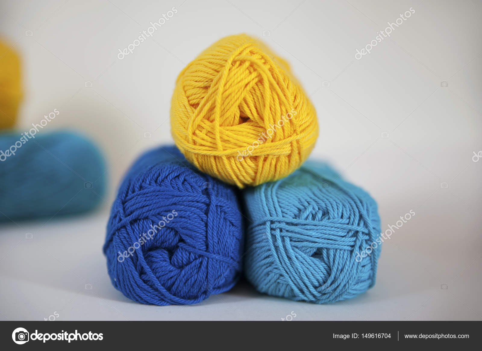 Zitrone, Türkis und blau Baumwoll-Garn zum Stricken, Handarbeiten ...