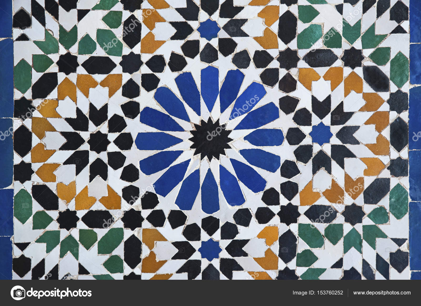 Piastrelle marocchine o zellige di sfondo astratto intricati disegni