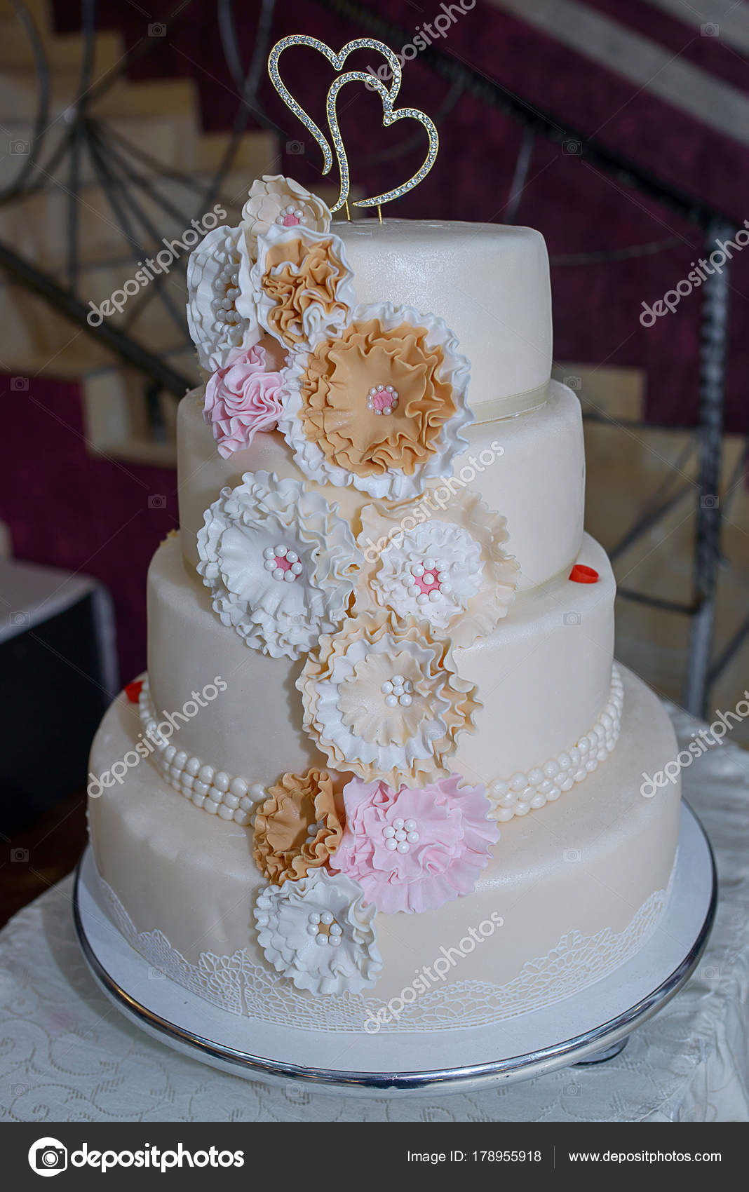 Four Tiered Wedding Cake Pastel Colored Flowers Edible Lace Pearls