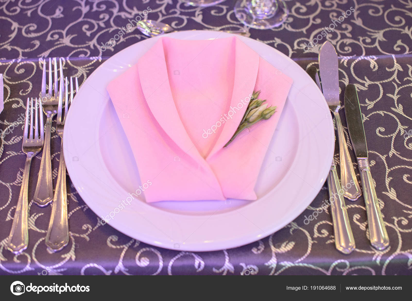Formal Table Setting Silverware Placed Order Use Elegantly Wrapped ...