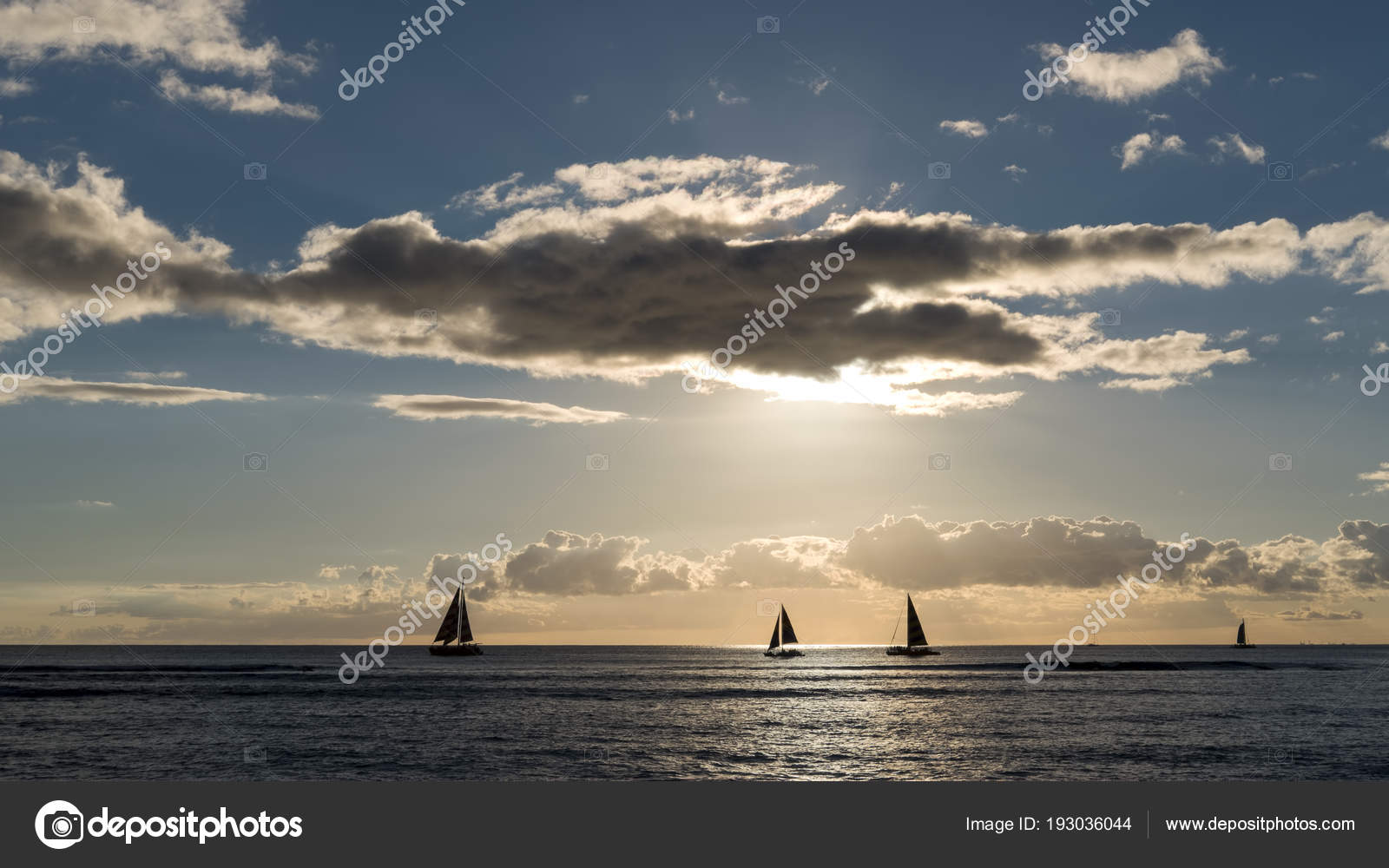 Silhouetted Floating Sailing Boats Sunset Waikiki Beach